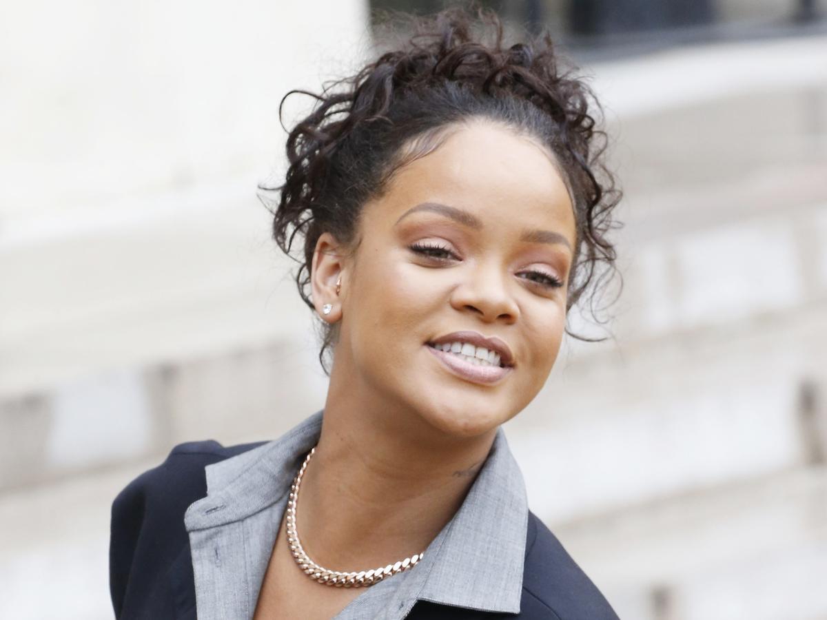 Rihanna na spotkaniu z Brigitte Macron