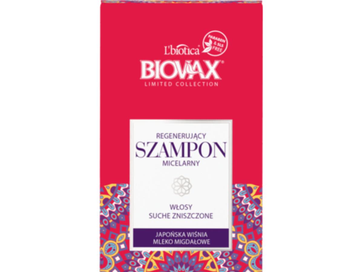 L'biotica, Japońska Wiśnia i Mleko Migdałowe, Regenerujący szampon do włosów suchych i zniszczonych