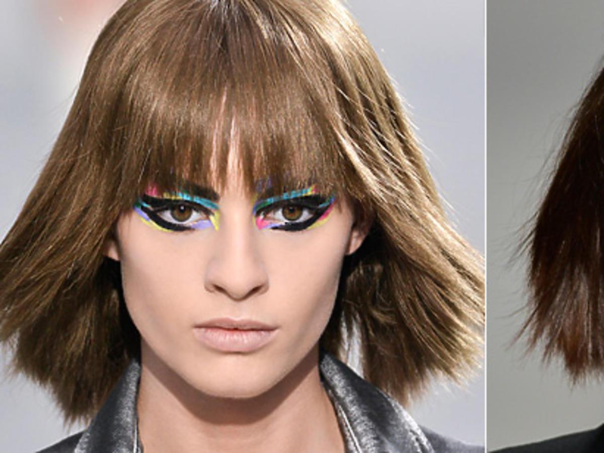 Proste włosy z grzywką na wiosnę 2014, Chanel, Yves Saint Laurent