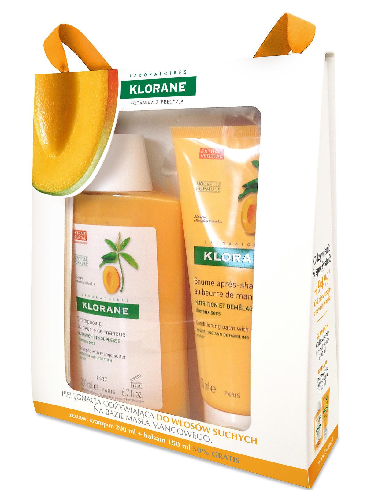 Zestaw do włosów suchych z masłem mangowym Klorane, 59zł