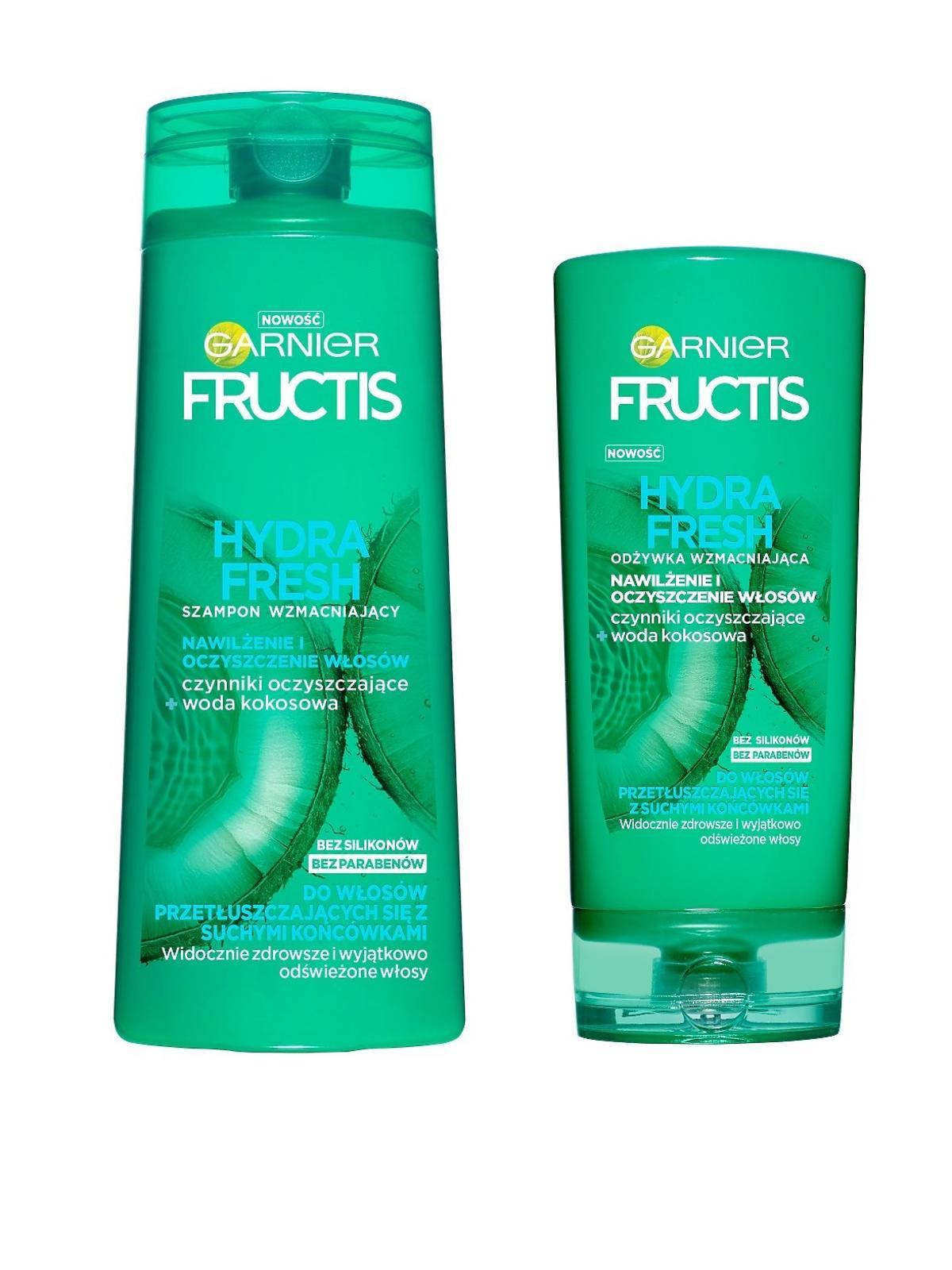 Garnier, Fructis, Hydra Fresh, Szampon i odżywka wzmacniające do włosów przetłuszczających się, z suchymi końcówkami
