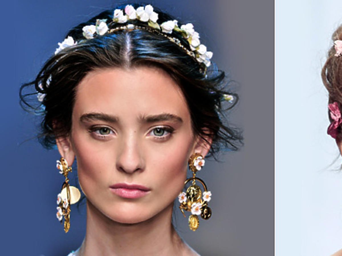 Kwiaty we włosach na wiosnę 2014, Dolce&Gabbana, Zac Posen