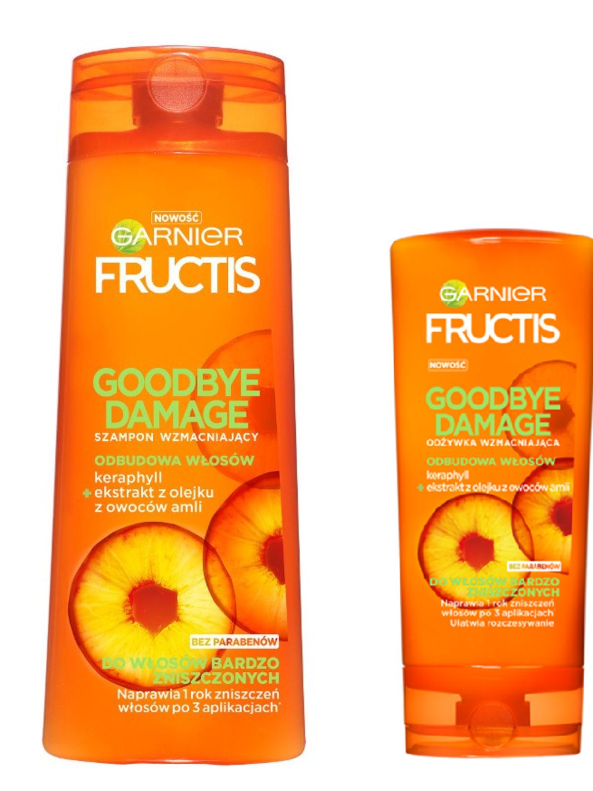 Garnier, Fructis, Goodbye Damage, Szampon i odżywka wzmacniająca do włosów bardzo zniszczonych