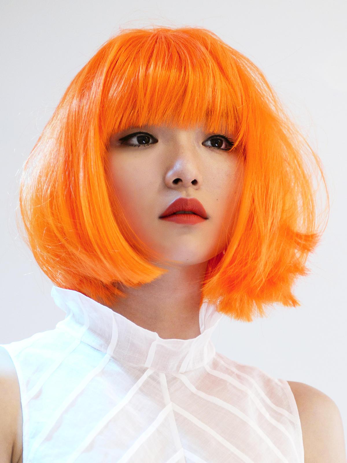 Shimada, pomarańczowy long bob z grzywką