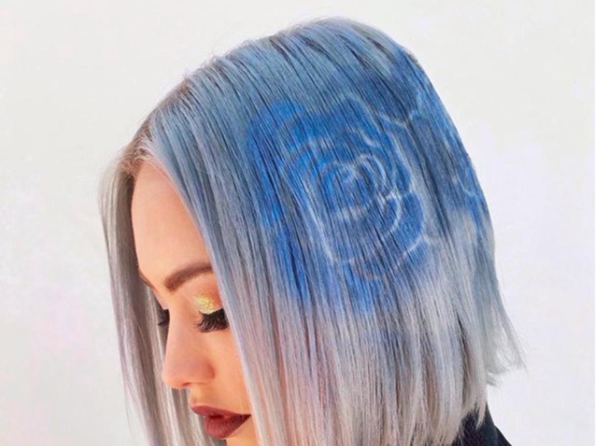 Kolorowe szablony na włosach