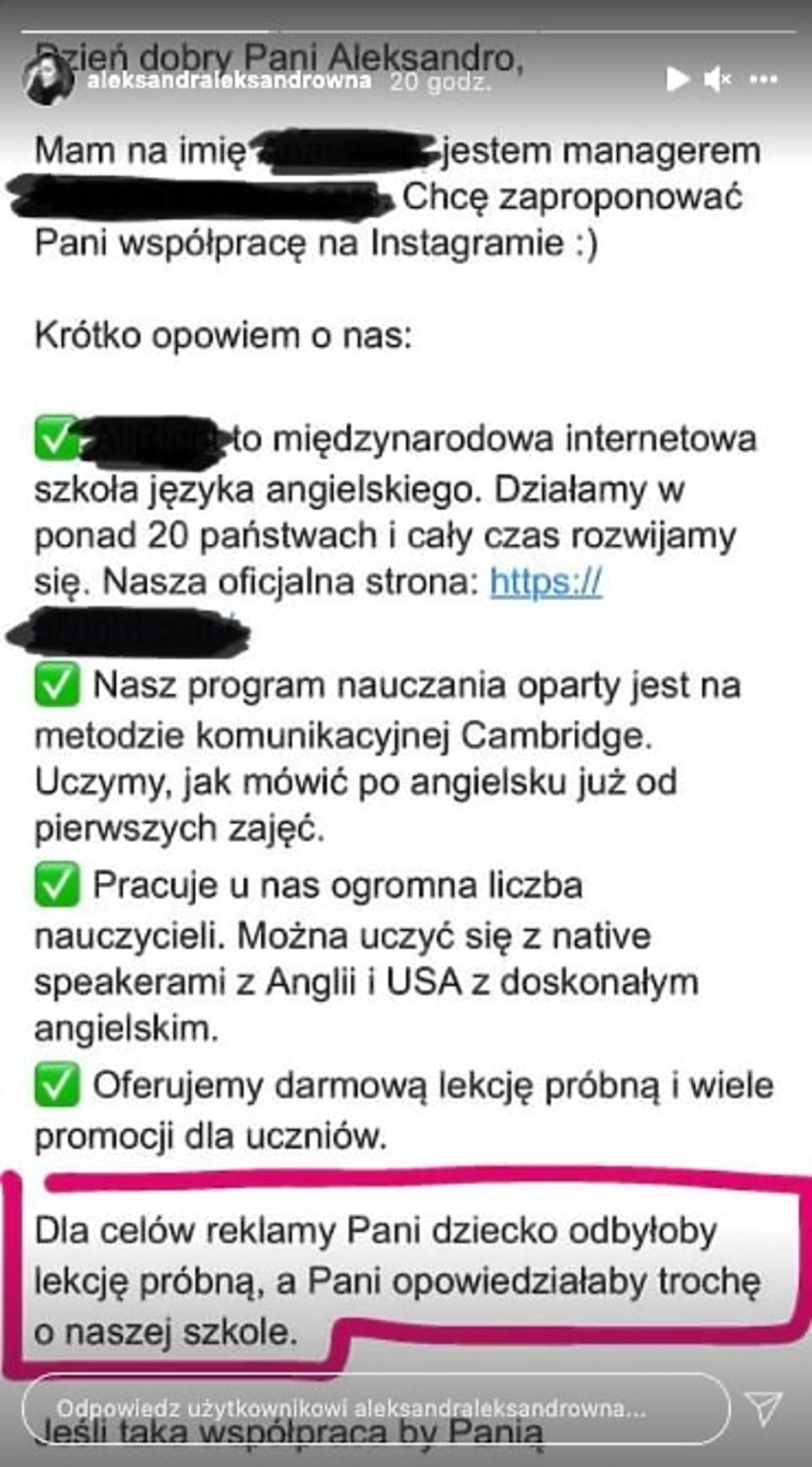 Aleksandra Kwaśniewska o propozycji współpracy