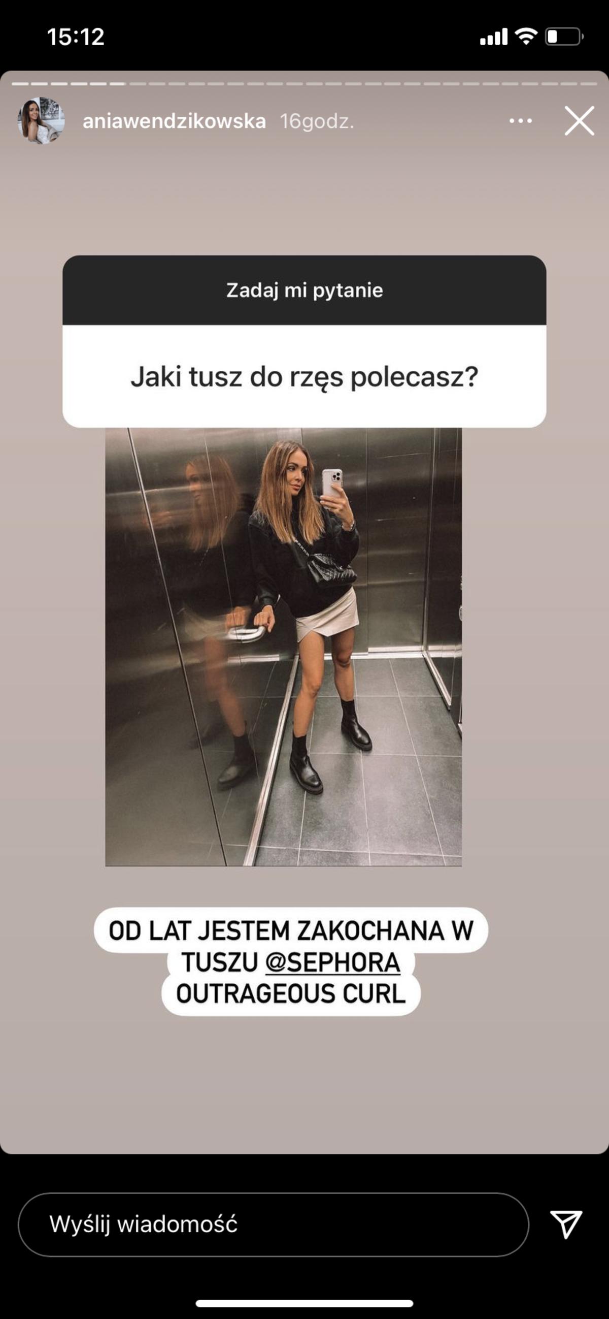 Anna Wędzikowska zdradziła, że używa tuszu do rzęs Outrageous Curl Mascara od Sephory