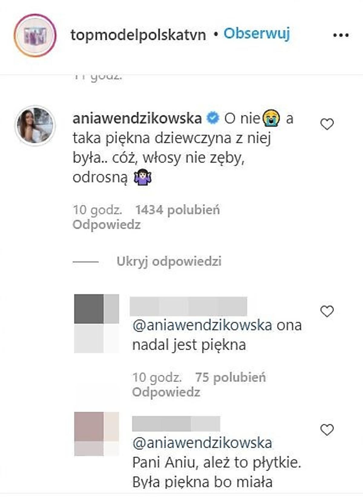 Anna Wendzikowska krytykuje metamrfozę uczsetniczki Top Model