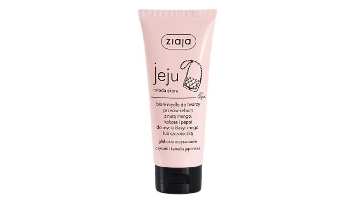 Białe mydło do twarzy przeciw sebum z nutą mango, kokosa i papai od Ziaja z serii Jeju