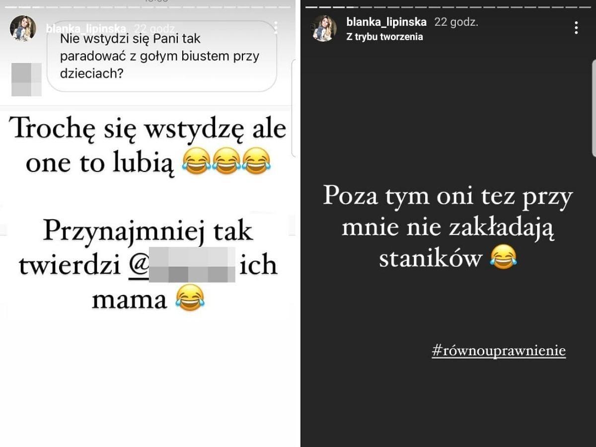 Blanka Lipińska odpowiada na pytanie oburzonej internautki