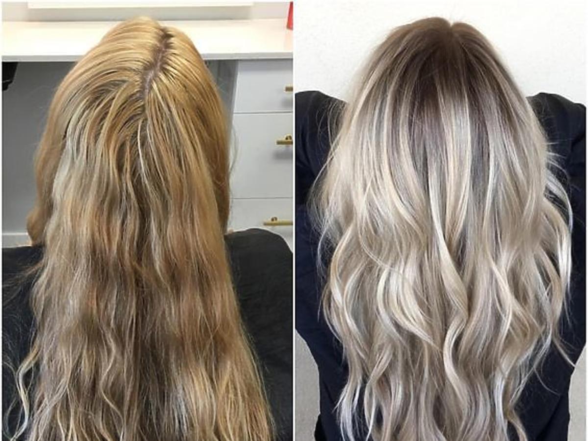 blond włosy przed i po