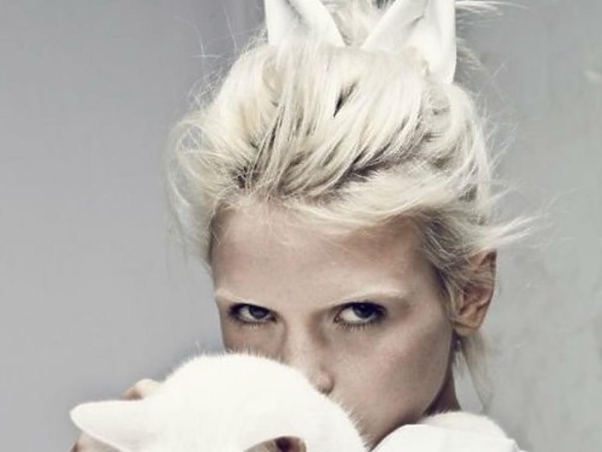 blondynka trzyma białego kota