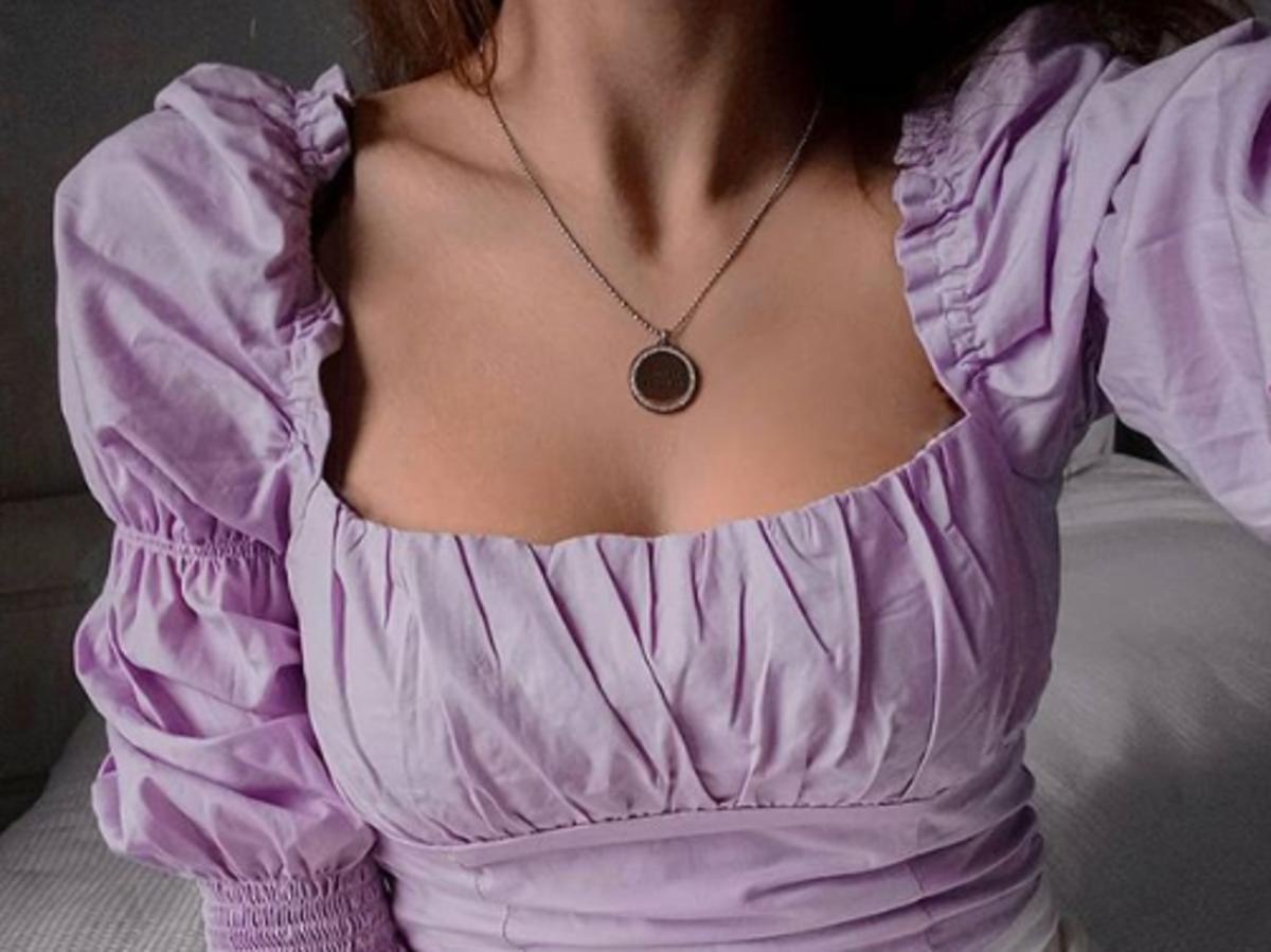 bluzka z bufkami powiększająca biust z h&m
