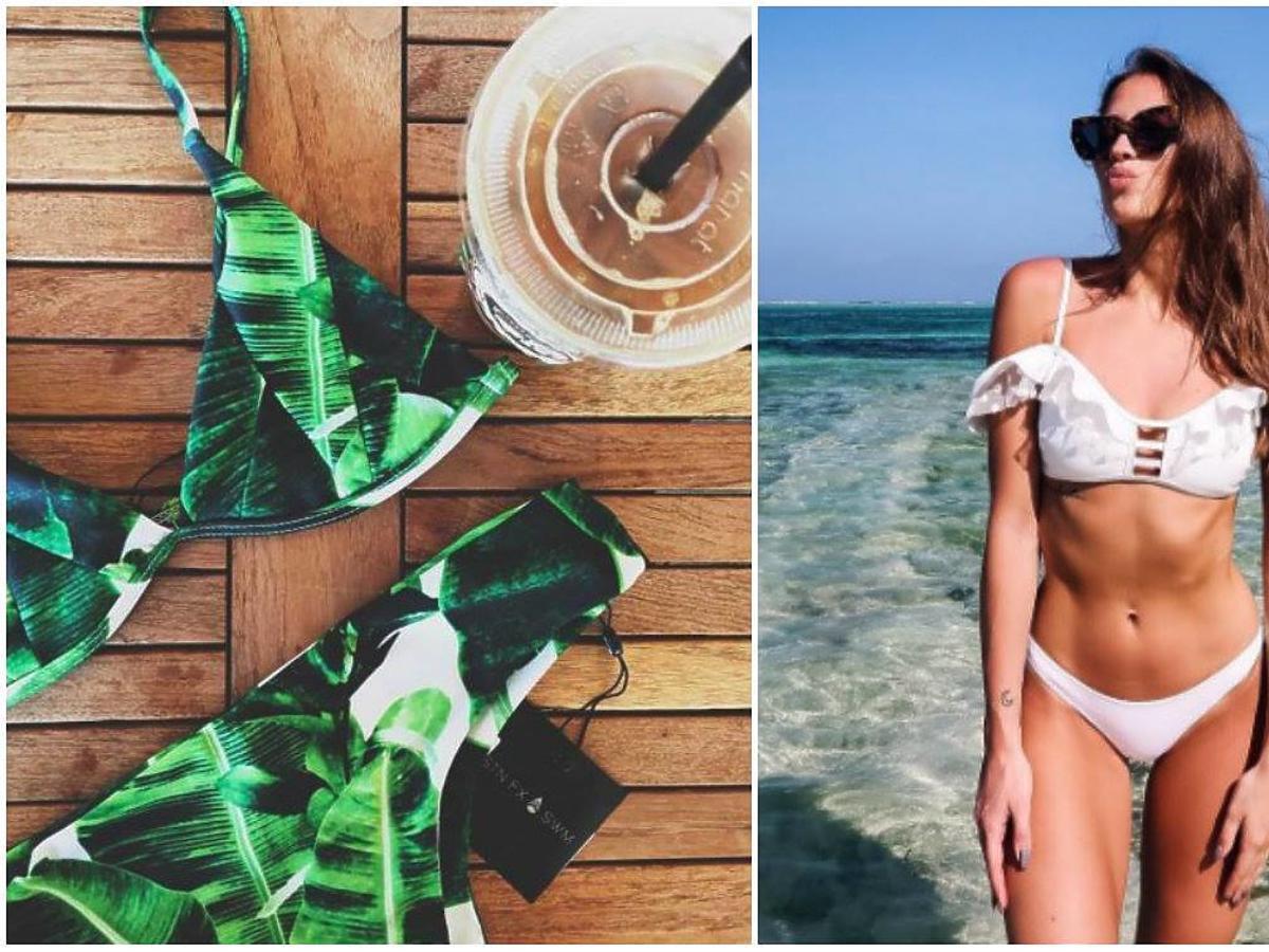 brunetka w białym kostiumie kąpielowym i kostium kąpielowy we florystyczny wzór