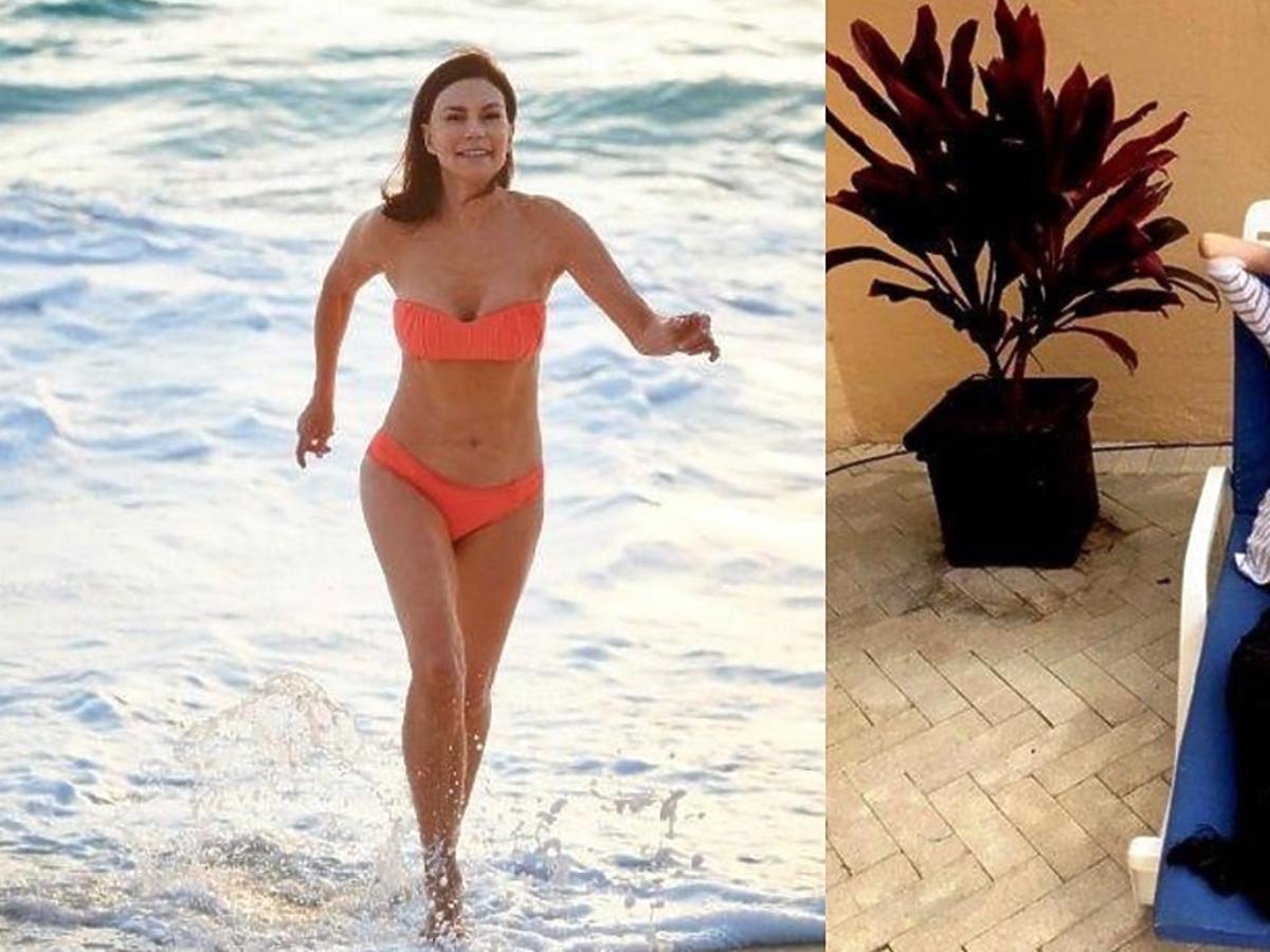 Carolyn biegnąca w pomarańczowym bikini po plaży i leżąca na leżaku