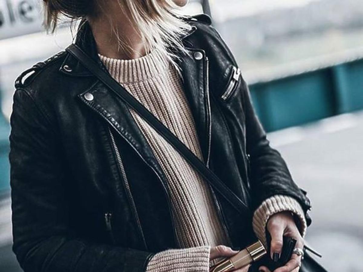 czarna ramoneska beżowy sweter