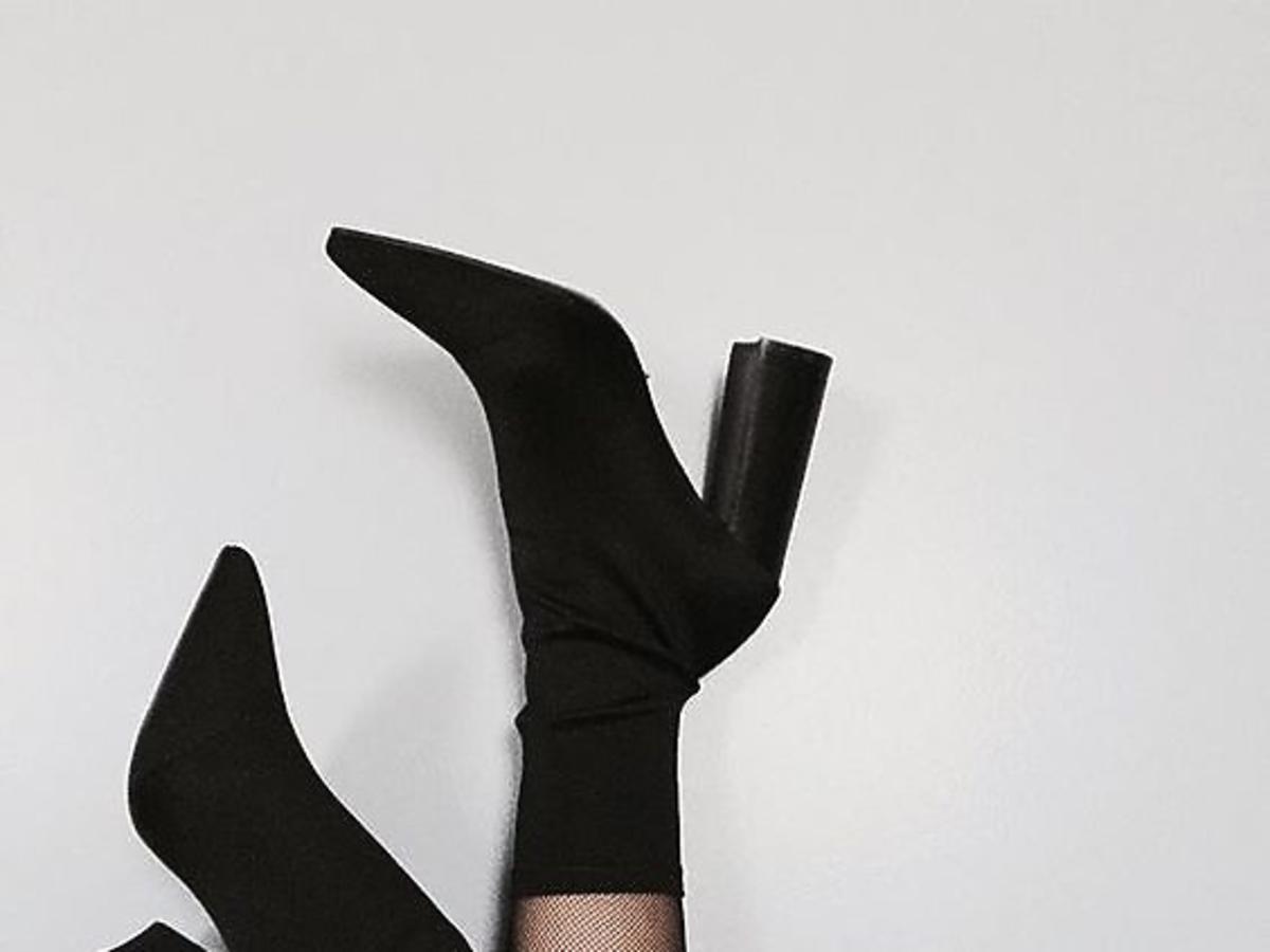 czarne botki elastyczne ze skarpetą