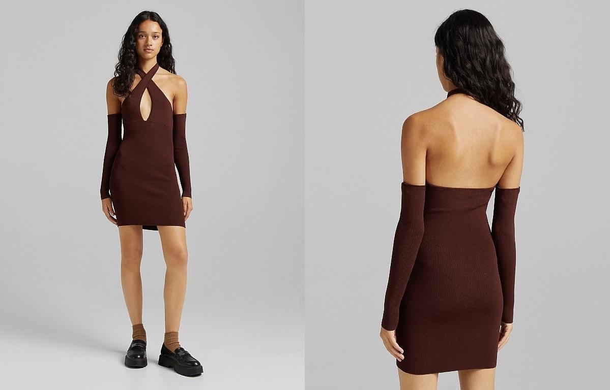 czekoladowa sukienka z Bershka