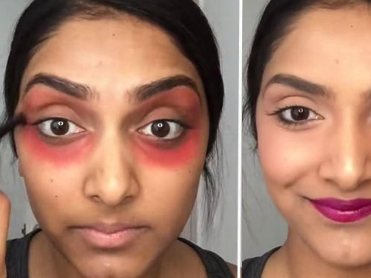 czerwona szminka pod oczami