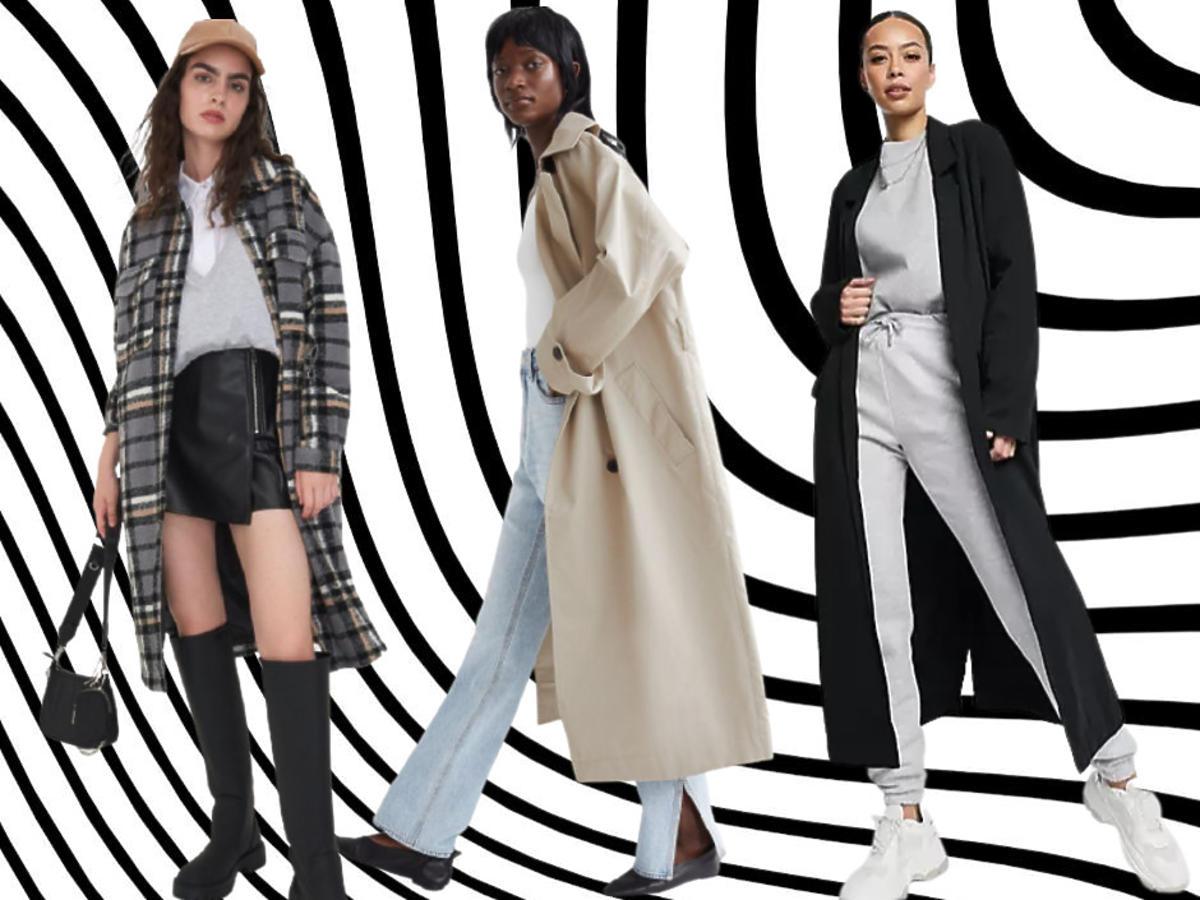 długi płaszcz damski z sieciówki Sinsay, H&M, Asos
