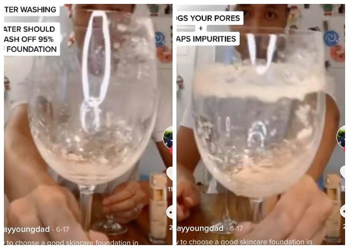 Dobieranie podkładu z pomocą szklanki wody