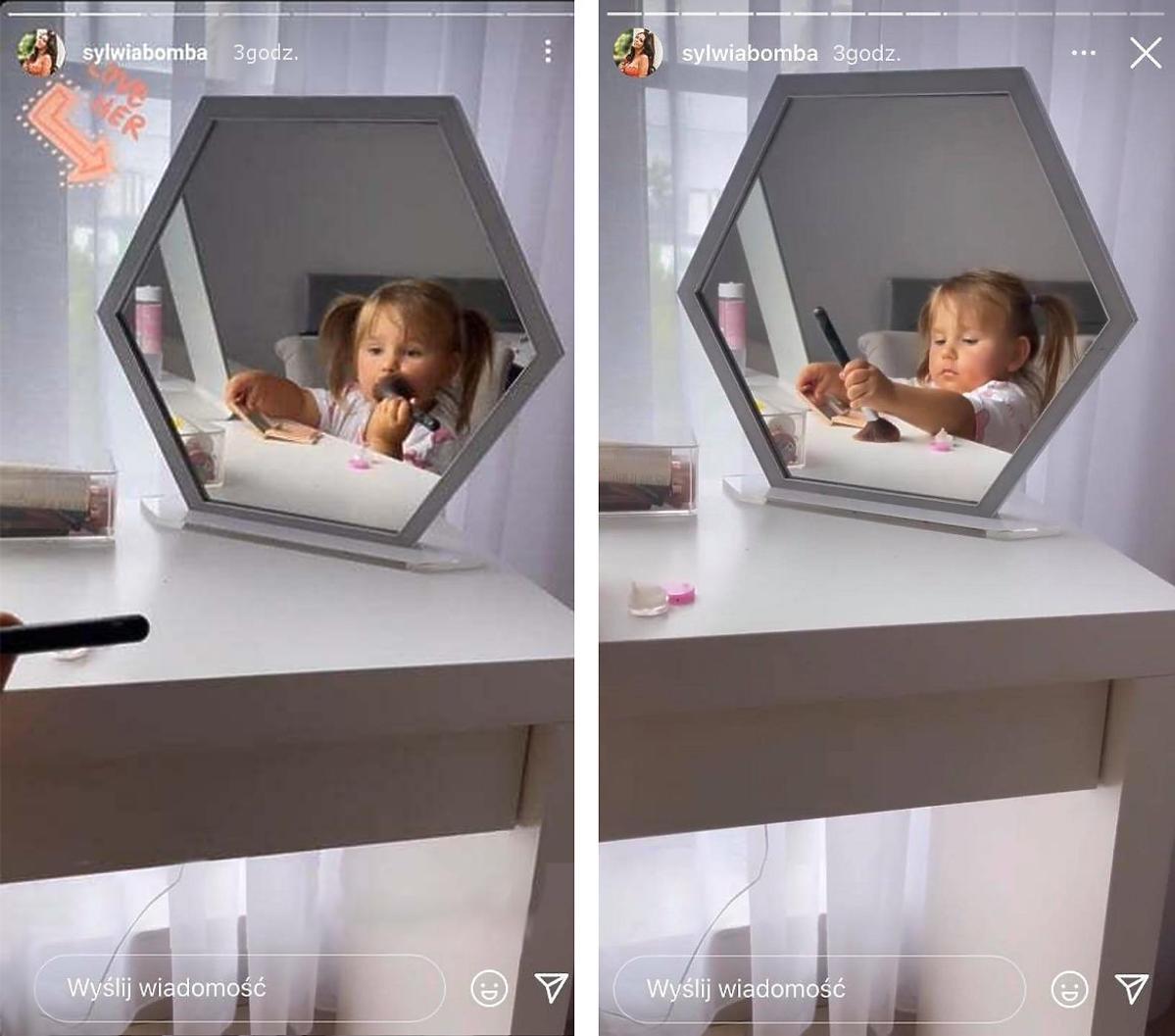 Dwuletnia córka Sylwii Bomby maluje się kosmetykami mamy