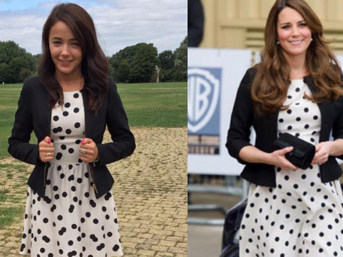 dziewczyna w stylizacji księżnej Kate na zdjęciu obok Kate Middleton