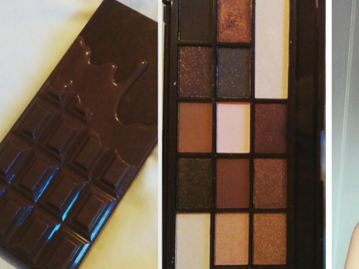 dziewczyna z makijażem paletka makeup revolution heart chocolate