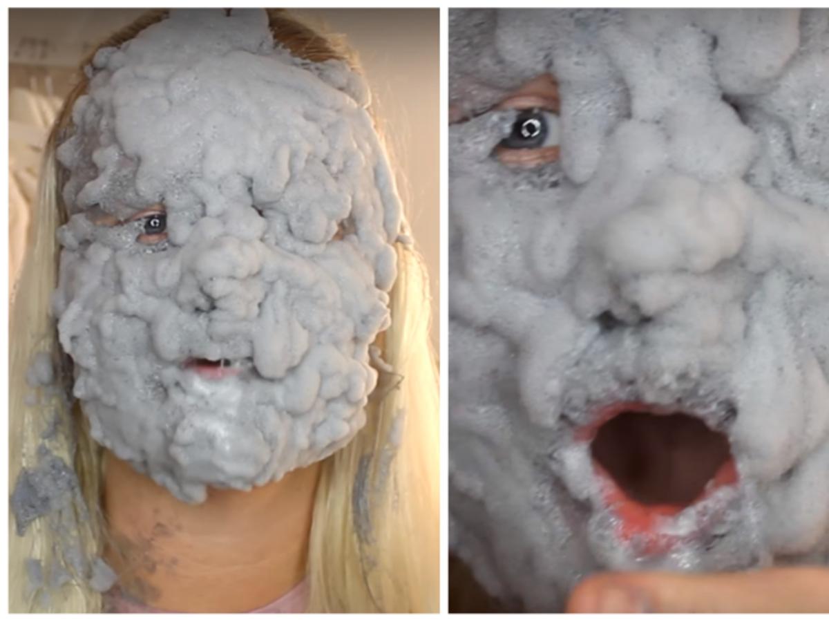 dziewczyna z maseczką bąbelkową elizavecca na twarzy