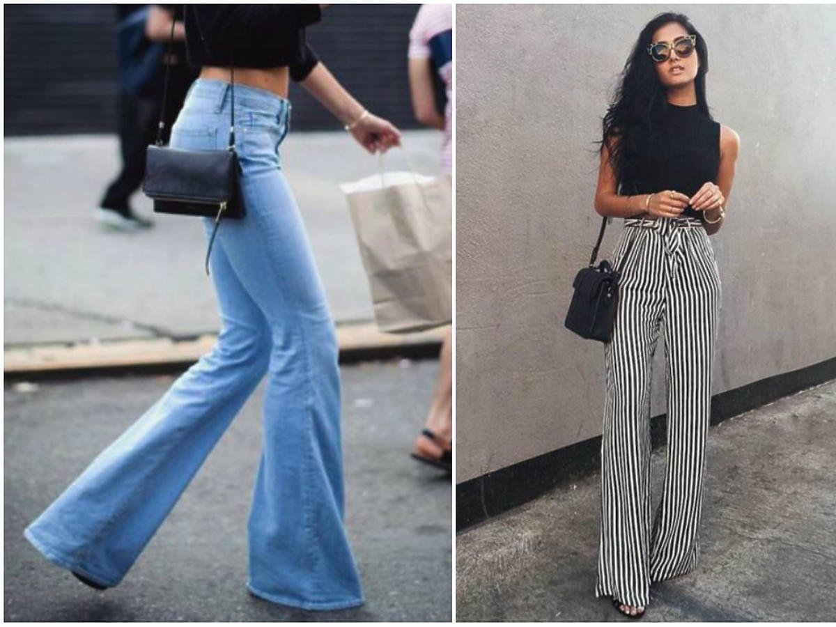 dżinsy dzwony spodnie z rozszerzanymi nogawkami stylizacja