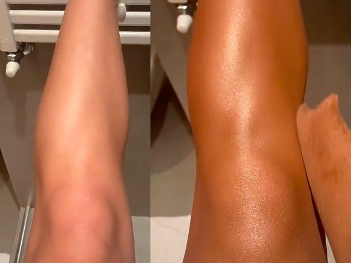 Efekt przed i po użyciu samoopalacza