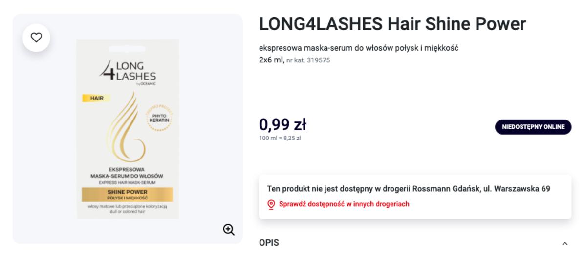 ekspresowa maska-serum Long4Lashes
