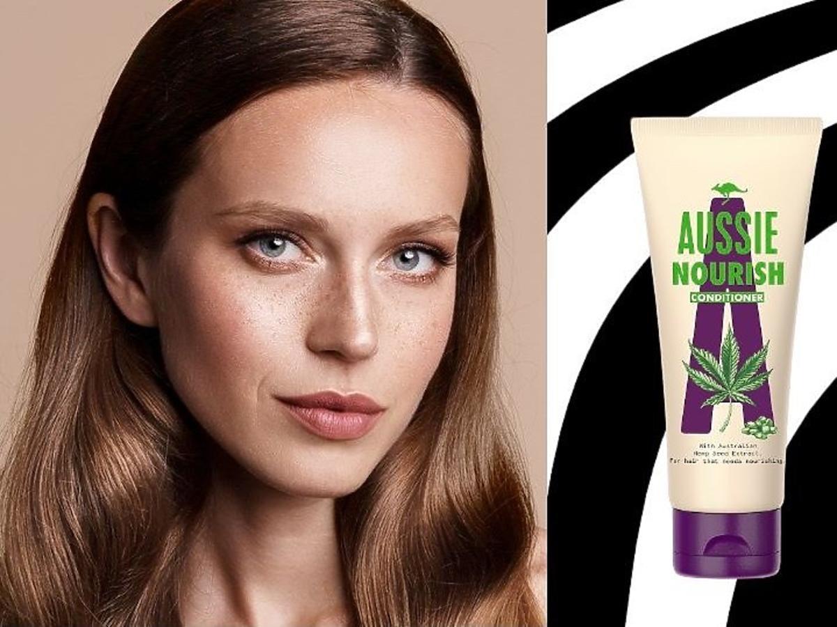 gładkie włosy po kosmetykach Aussie Nourish