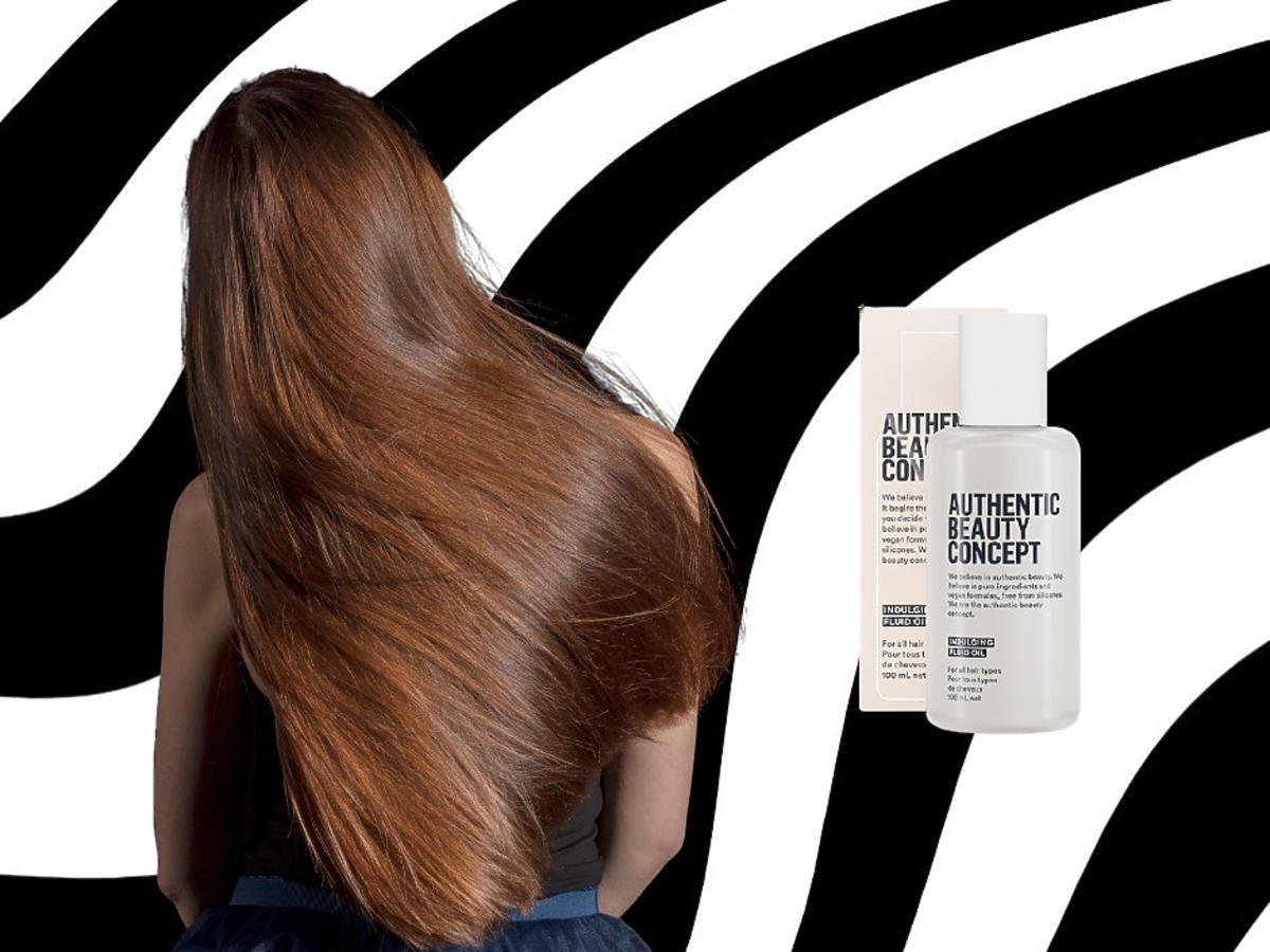 gładkie włosy po uzyciu fluidu do włosów Authentic Beauty Concept