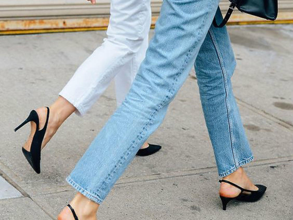 jasne dżinsy buty na niskim obcasie kaczuszki
