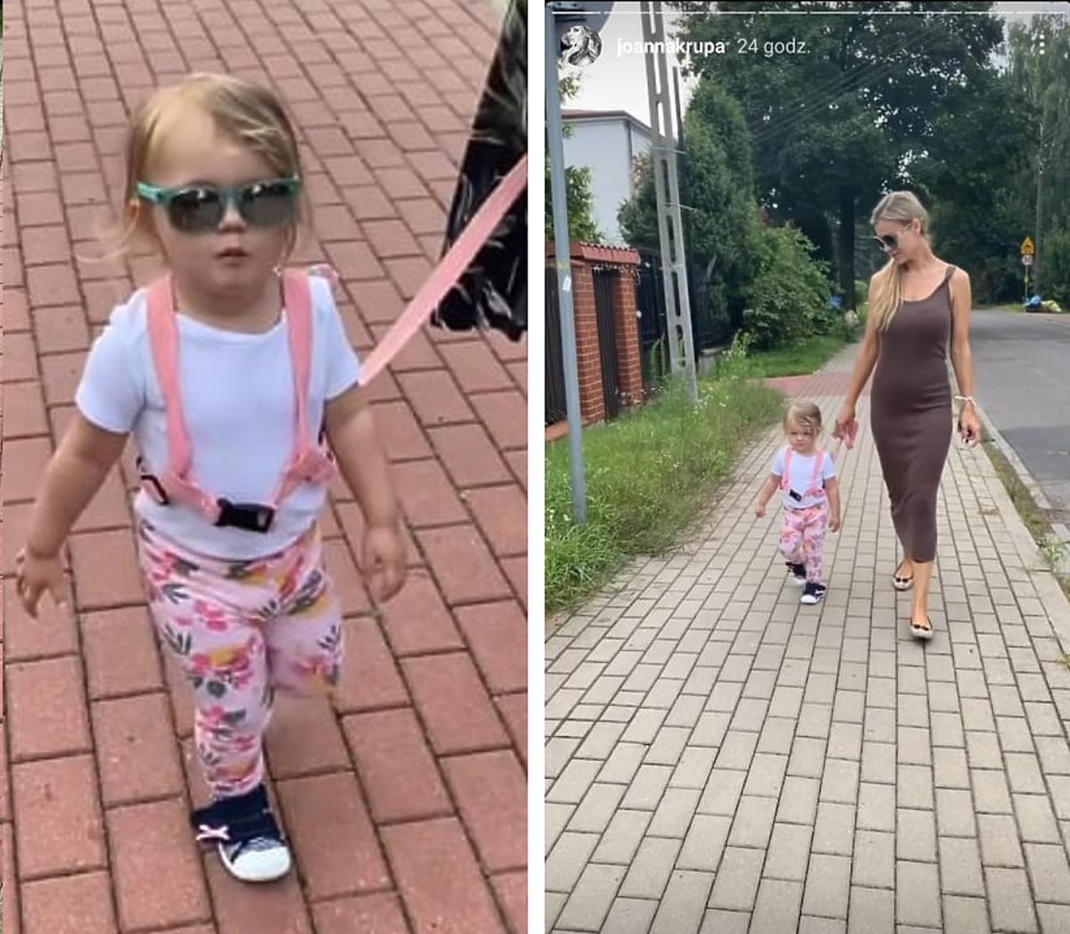 Joanna Krupa z córką na spacerze. Wyprowadziła ją... na smyczy. Fani w szoku