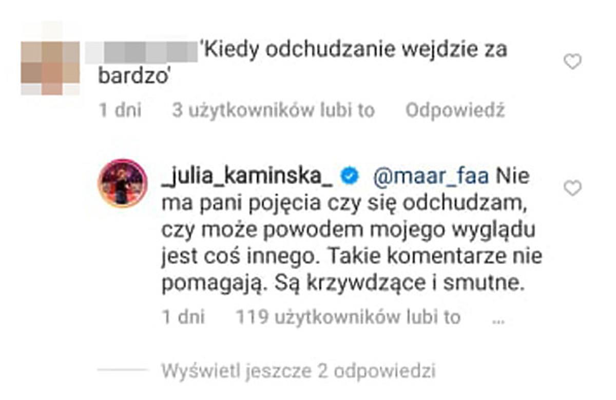 Julia Kamińska odpowiada na komentarz