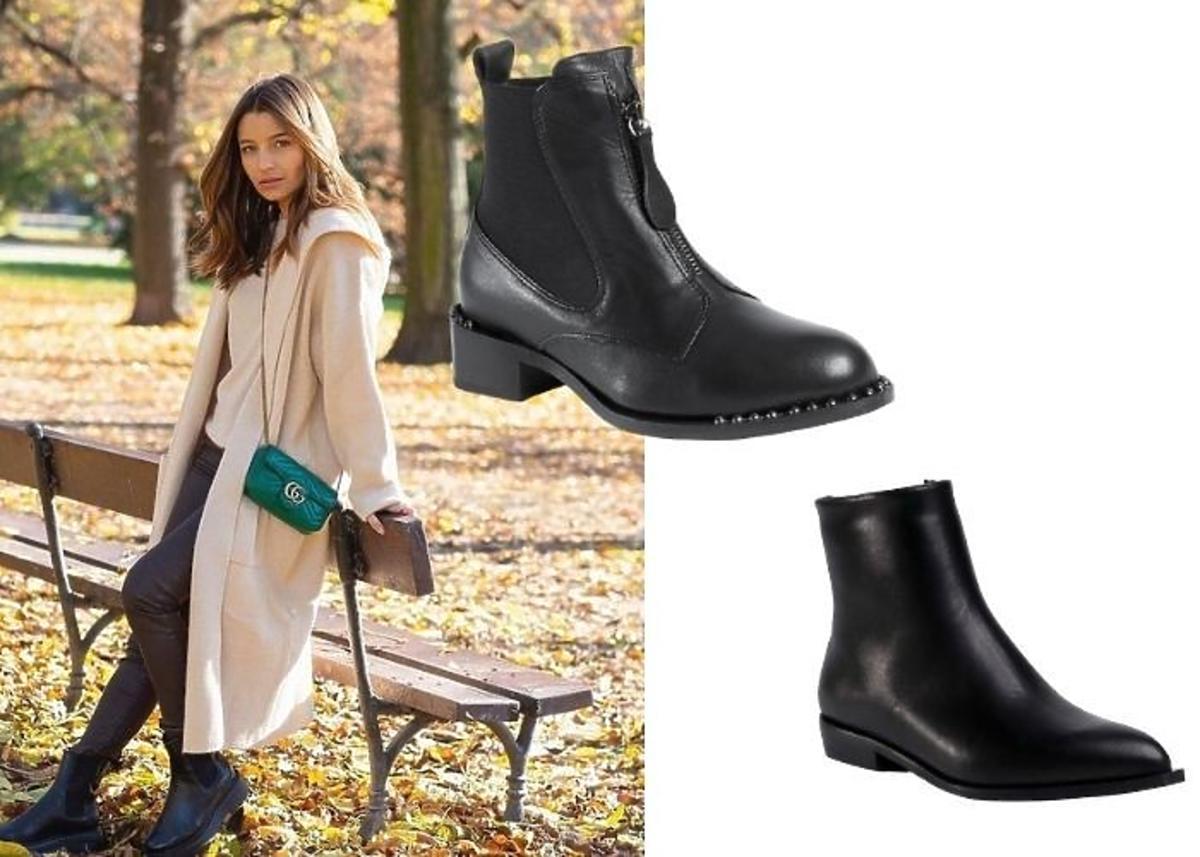 Julia Wieniawa w beżowym płaszczu, torebce i czarnych botkach.