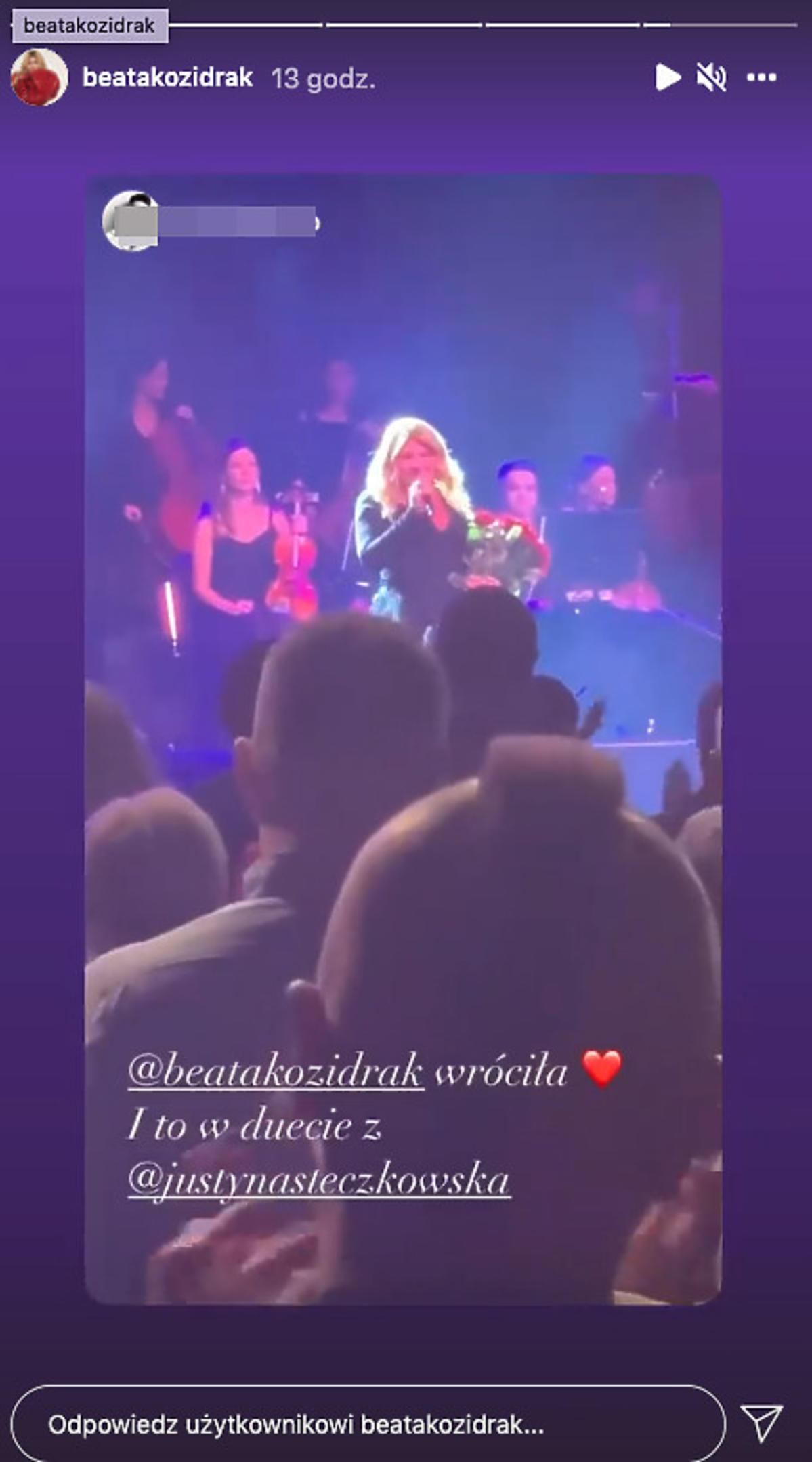 Justyna Steczkowska wystąpiła z Beatą Kozidrak