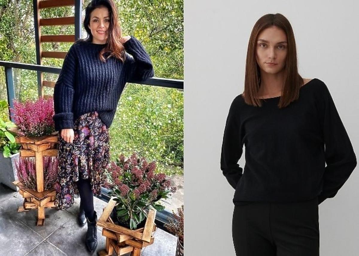 Katarzyna Cichopek w czarnym swetrze, spódnicy midi w kwiaty na balkonie.