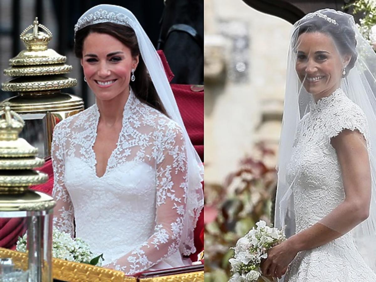 Kate Middleton i Pippa Middleton w sukniach ślubnych
