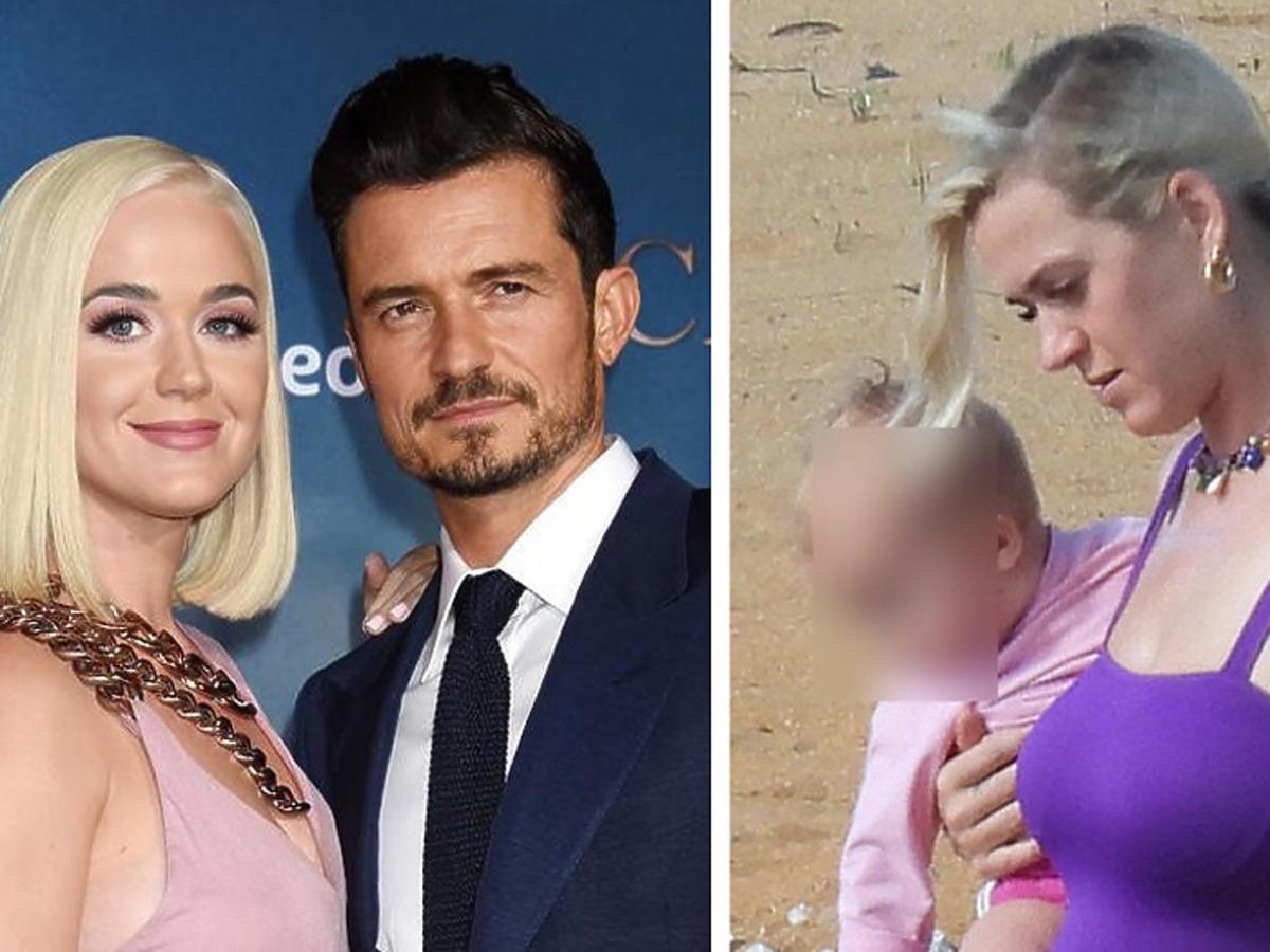 Katy Perry na wakacjach, chodzi po plaży z dzieckiem na rękach