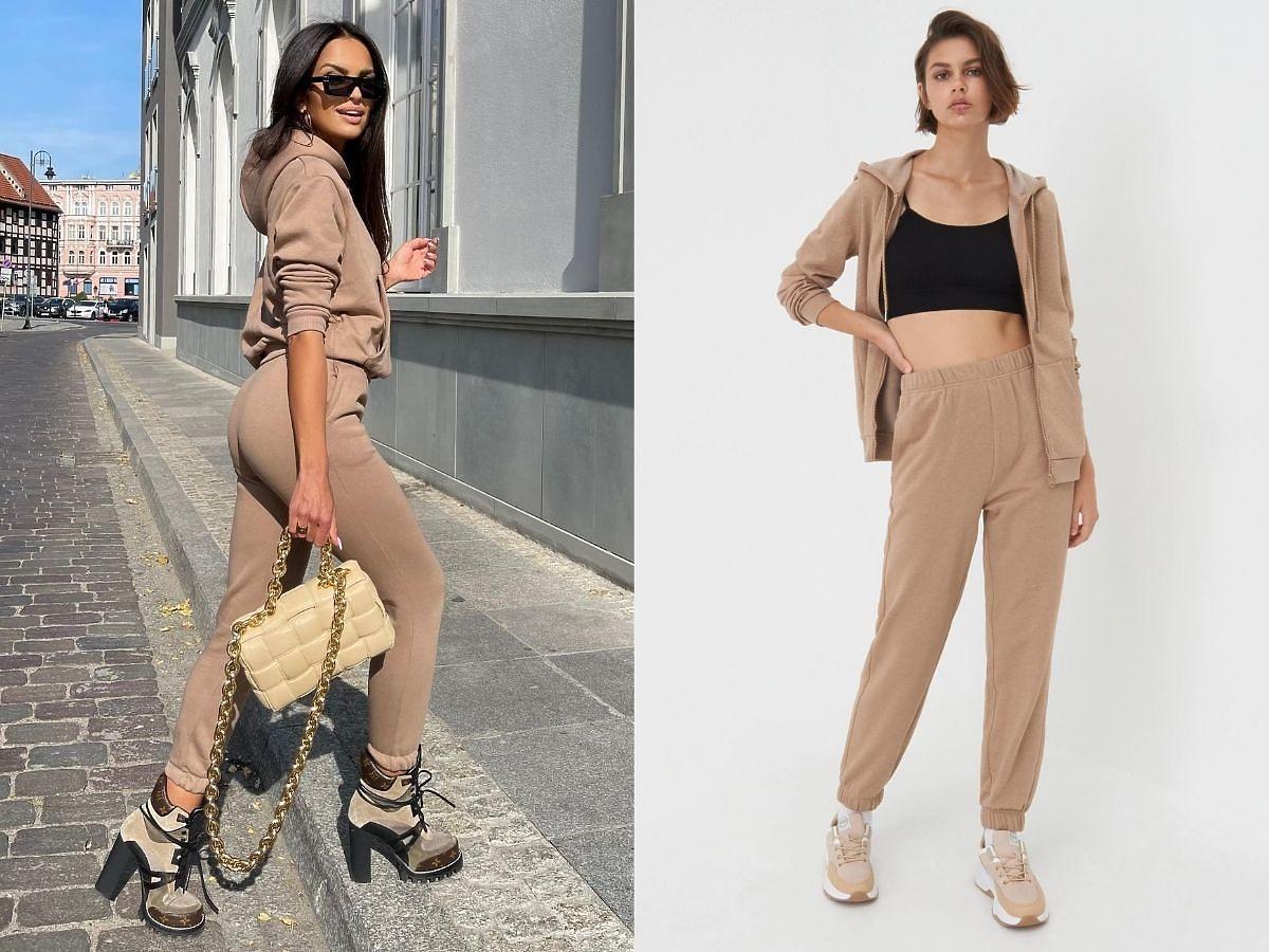 Klaudia El Dursi w beżowych spodniach dresowych