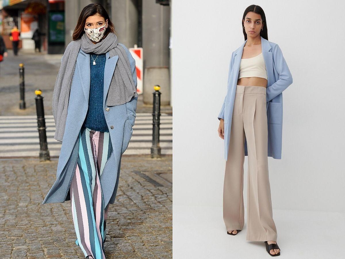 Klaudia Halejcio i najmodniejszy płaszcz damski niebieski