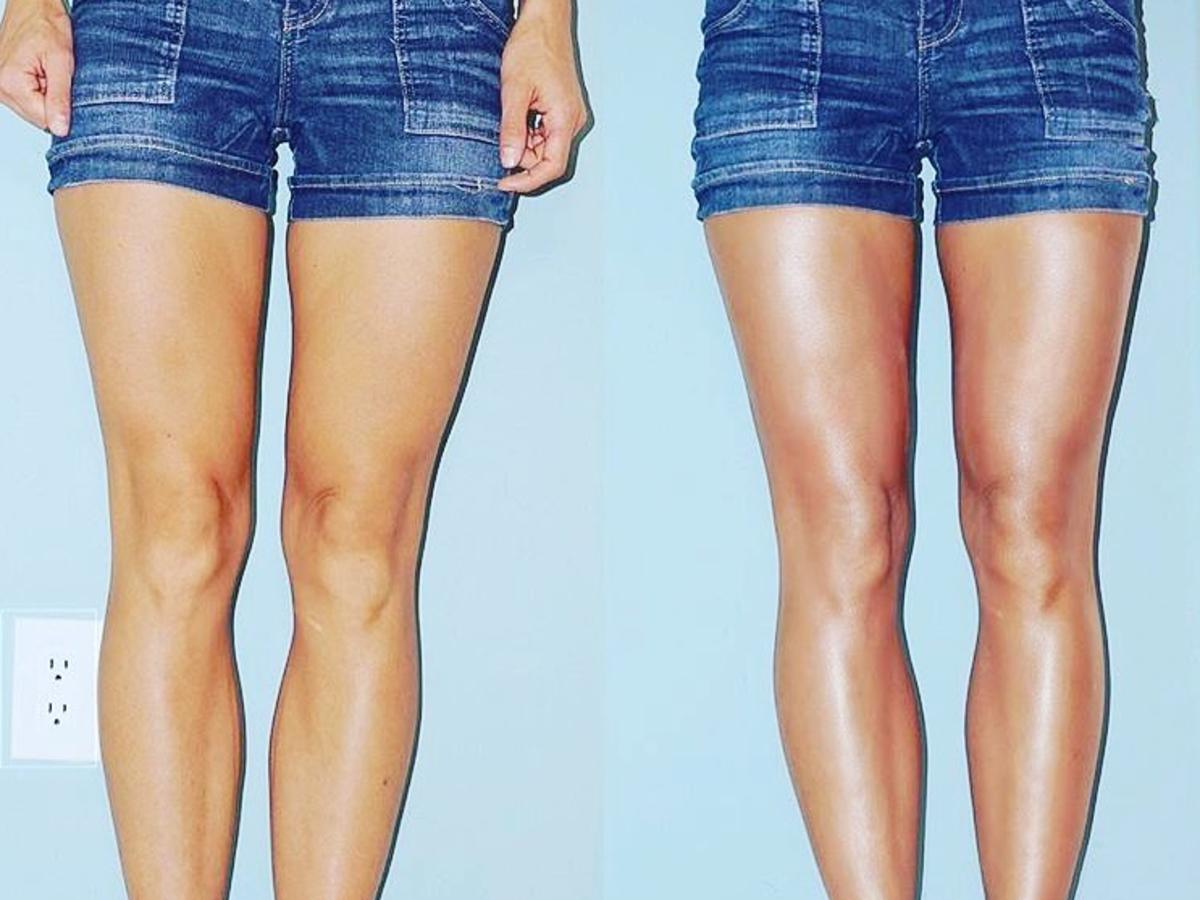 kobiece szczupłe nogi zdjęcie przed i po konturowaniu