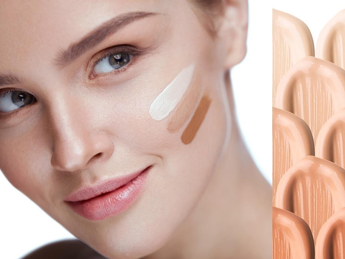 kobieta z próbkami podkładu na twarzy oraz swatche