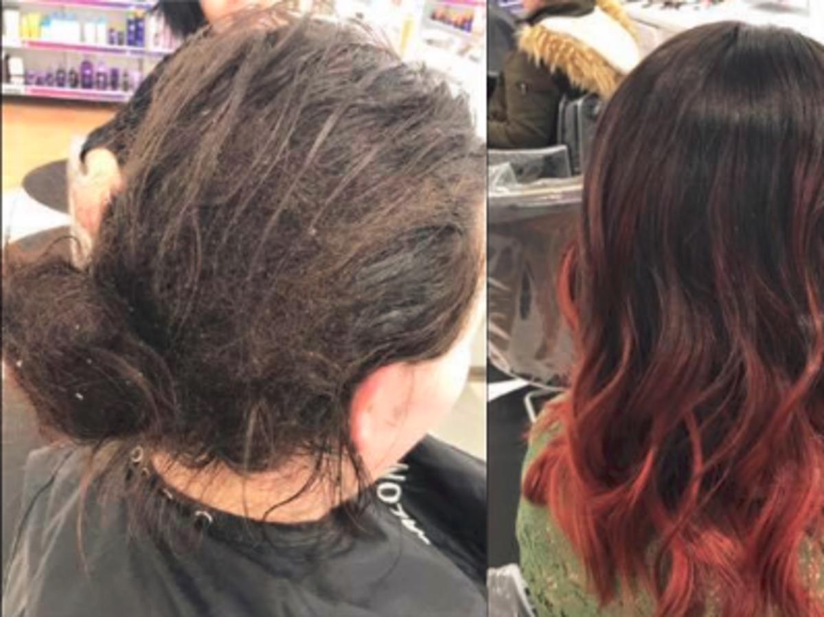 Kobieta ze zlepionymi włosami po metamorfozie z obciętymi włosami z czerwonym ombre