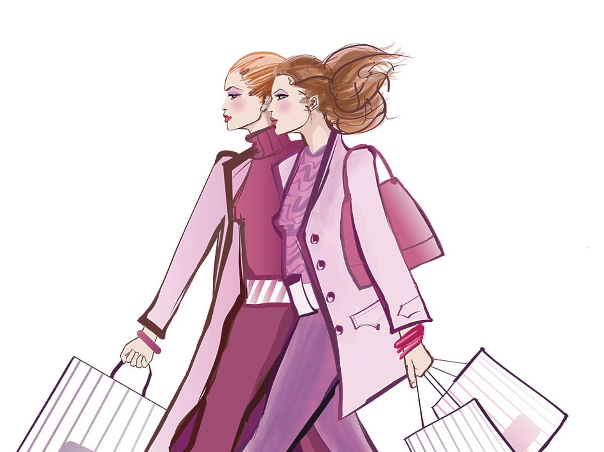 kobiety na zakupach wyprzedaże ilustracja moda