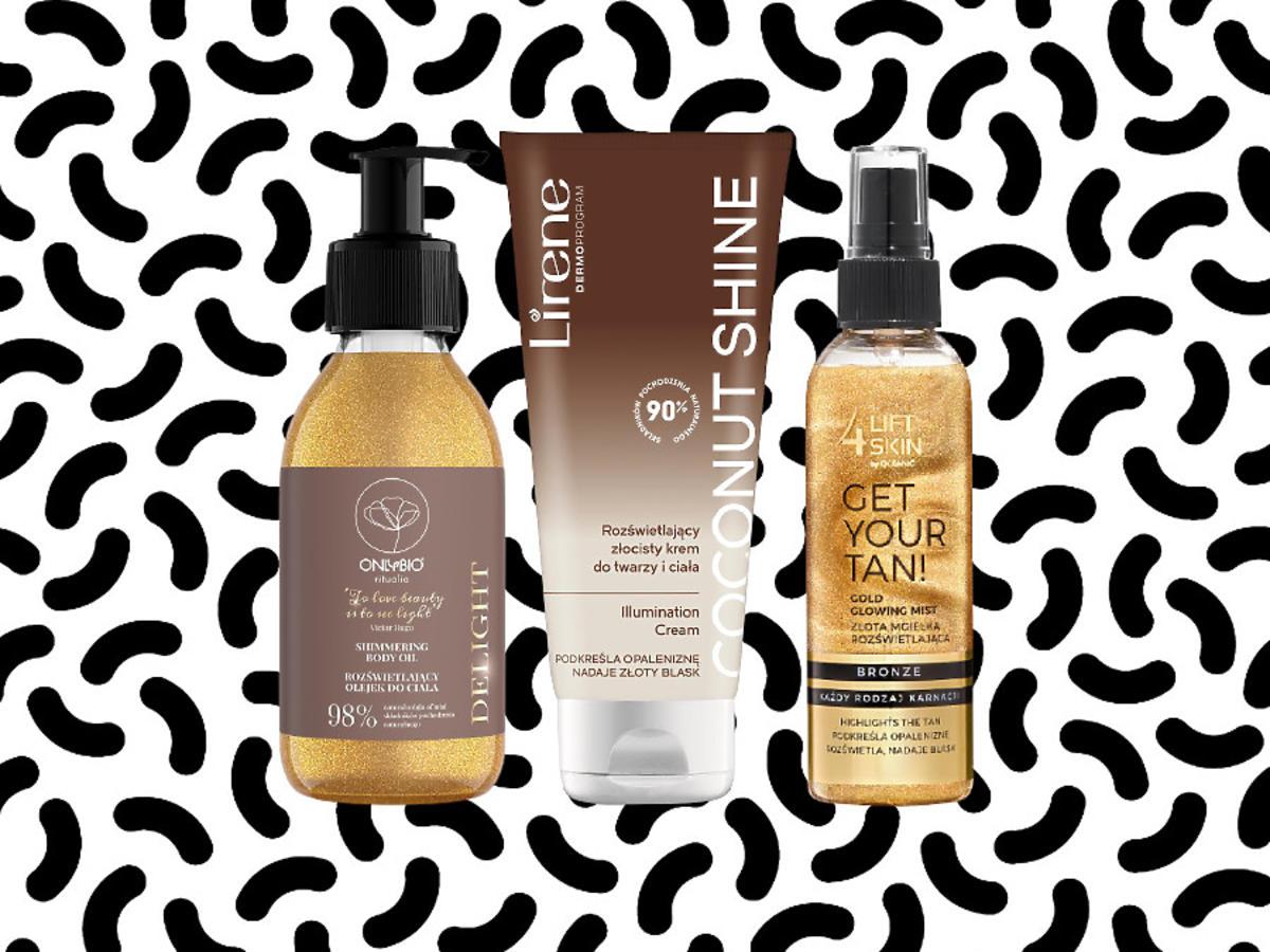 Kosmetyki rozświetlające do ciała OnlyBio, Lirene, Lift4Skin