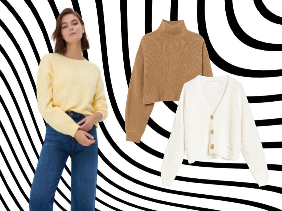 krótkie sweterki na jesień 2021 Sinsay, H&M, Reserved